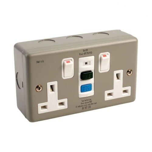 Europa RCD13ASS RCD Twin Double 2 Gang Socket SWITCHED 13amp 30mA White