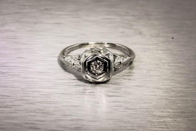 Antique 1920s .15ct Old Euro VS G Diamond 18k White Gold Filigree Ring