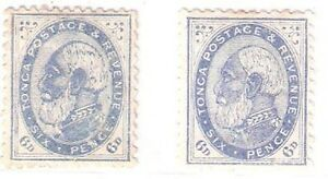 Tonga: Scott N° 3, 2 different pale and deep blue, mint, hinged. TG010