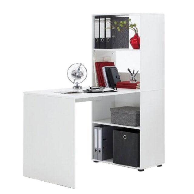 Lexor Range Computer Workstation Office Desk with Shelving White Black Oak