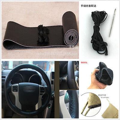 Black Genuine Leather Hand-Sewn Steering Wheel Cover Nonslip Sweat For Kia Volvo