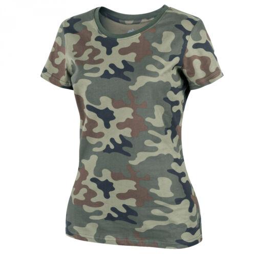 PL Woodland Helikon-Tex Womens DAMEN T-Shirt Cotton OUTDOOR SPORT FITNESS