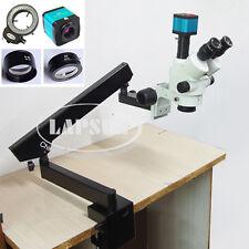90X Boom Arm Trinocular Simul-Focal Stereo Microscope + HDMI Camera Barlow Lens