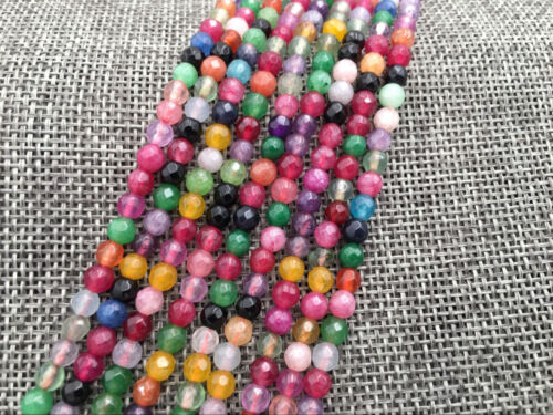 """FACETTES 4 mm mix couleur jade Round Gemstone Loose Beads 15/"""" AAA"""