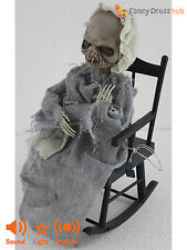 Animated Skeleton Mother +Baby Rocking Chair Halloween Party Prop Decoration