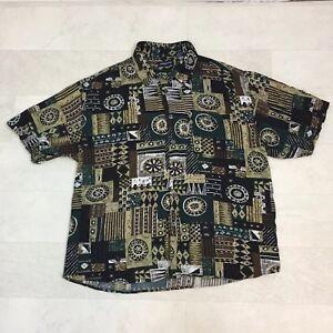 Portofino-Mens-Shirt-Size-XL-Brown-Green-Geometric-Tribal-Print-Hawaiian-Aloha
