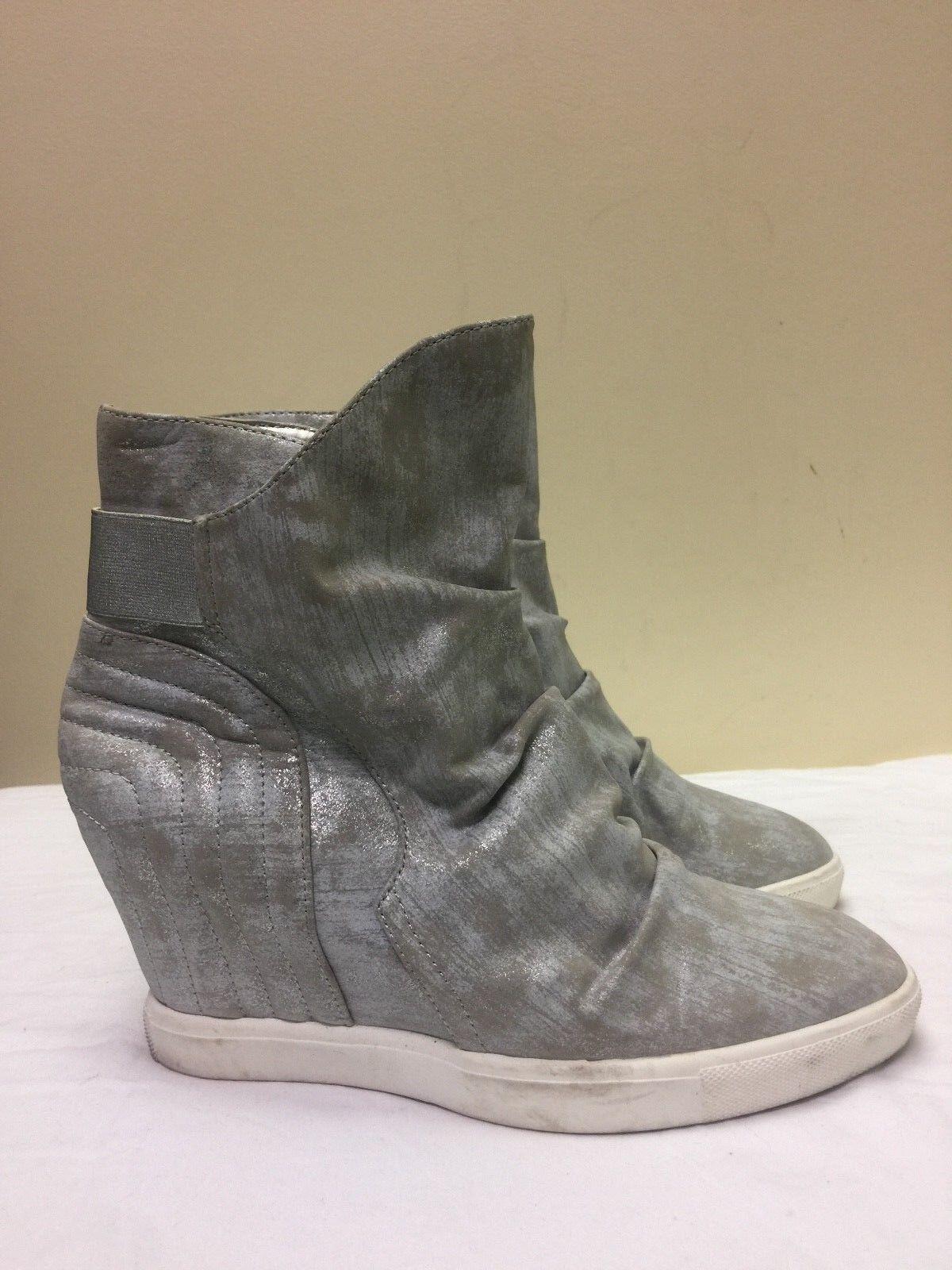 "Jennifer Lopez JL Frannie Sz 9.5M 3.5"" Silver Hidden Wedge Platform Ankle Boots"