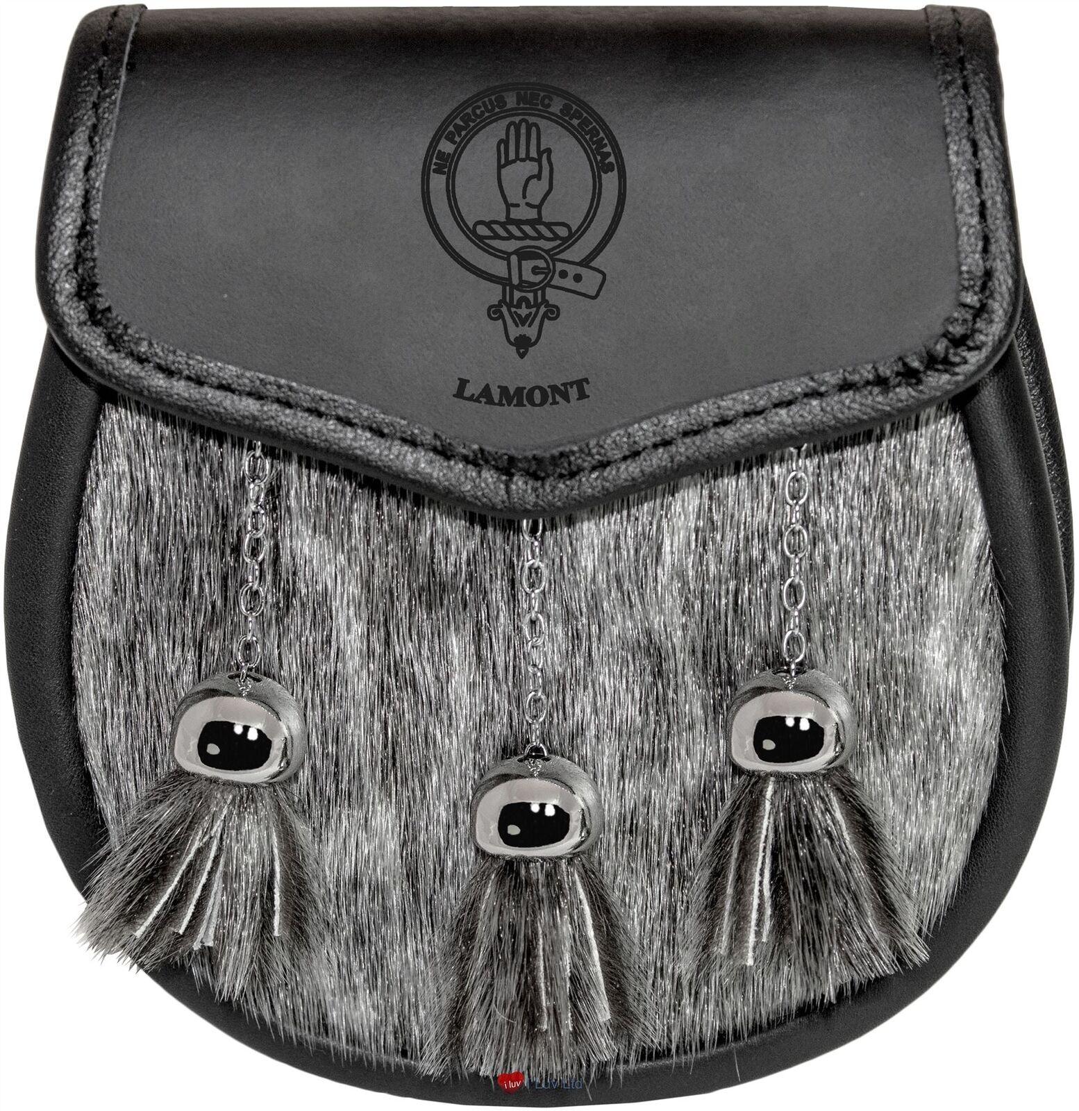 Lamont Semi Dress Sporran Fur Plain Leather Flap Scottish Clan Crest