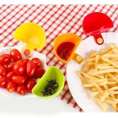 4x Colors Assorted Salad Sauce Ketchup Jam Dip Clip Saucer Tableware Cup Bowl