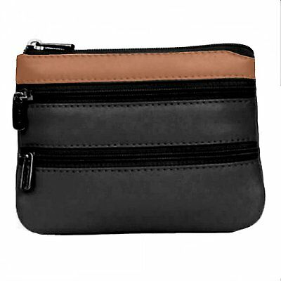 GOLUNSKI Leather 3 Zipped Compartment Coin Purse Small, Black