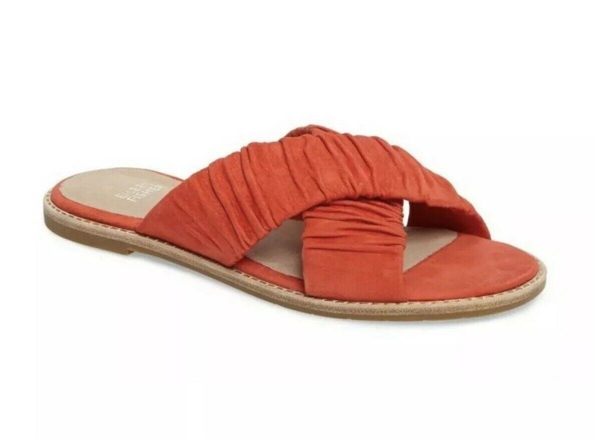nyA Eileen Fisher Cross Slide Tumbled Nubuck läder Sandal Flats Flats Flats Melon Storlek 10  det lägsta priset