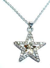 GORGEOUS SILVER WHITE CRYSTAL SPARKLE PRINCESS STAR PENDANT NECKLACE