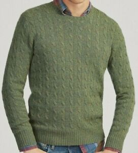 Polo Ralph Lauren 100% Cashmere Luxury Fishermen's Ropes Cable Knit Sweater Men