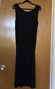 James-Perse-Dress-Size-3-Large-Black-Womens-Sleeveless-Tank-Blouson-Tencel-EUC