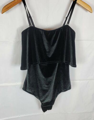H&M Womens XS Black Bodysuit Tank Top Faux Velvet