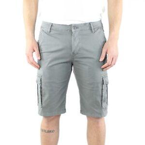 Bermuda-Uomo-Cargo-Grigio-Cotone-Pantalone-Corto-Jeans-Tasconi-Laterali-Shorts