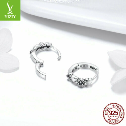 Authentique Argent Sterling 925 coeurs Dating Boucles D/'Oreilles Créoles Noir CZ brillant bijoux