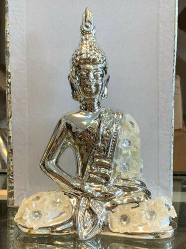 SILVER MILLE BUDDHA DECORATION ORNAMENT STATUE PEARL DIAMANTE ROMANY FIGURINE