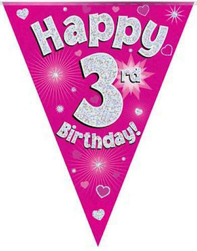 3rd BIRTHDAY FLAG BANNER PINK HOLOGRAPHIC PARTY BUNTING 11 FLAGS 3.9m/12.8ft