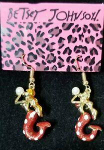 Red-Enamel-Cute-Mermaid-Pearl-Crystal-Betsey-Johnson-Women-Stand-Earrings