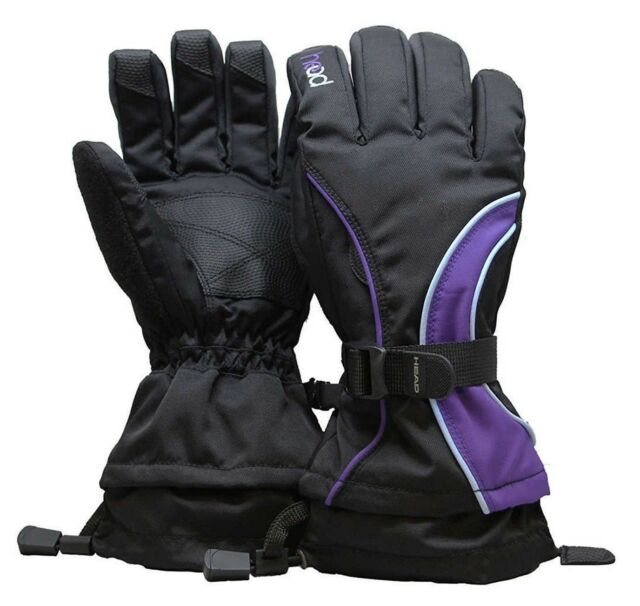 New HEAD Jr Insulated Ski Mittens BOYS//GIRLS Black//Gray and Purple