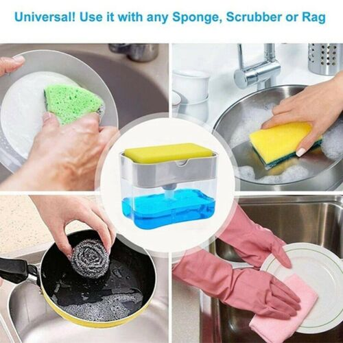 2-in-1 Pump Soap Dispenser and Sponge Caddy For Dish Soap And Sponge US