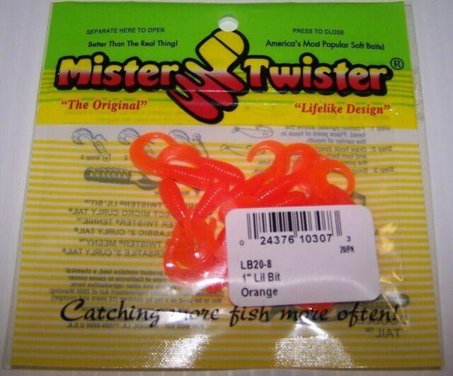 """Mister Twister 1/"""" Lil Bit Curl Tail grubs 20 per pack Chartreuse NIP"""