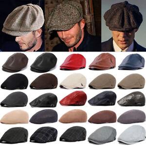2667047b7e7 Men Newsboy Gatsby Cap Peaked Cabbie Baker Boy Flat Hat Retro Winter ...