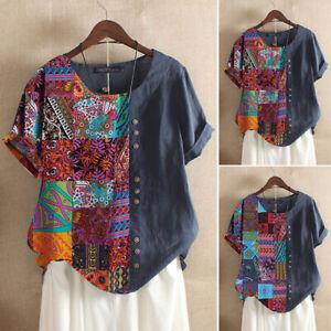 Mode-Femme-T-shirt-Coton-Manche-Courte-Imprime-Decontracte-lache-Couture-Plus