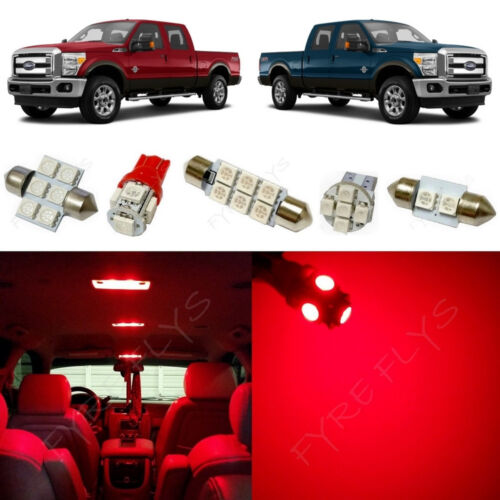 7x Red LED lights interior package kit for 2011-2015 Ford Super Duty FS2R