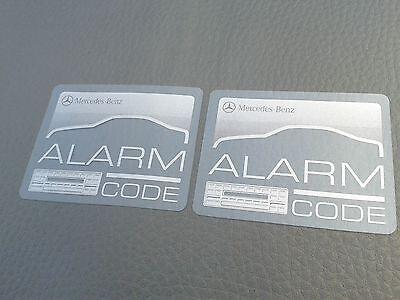 2 Mercedes-Benz ALARM / RADIO CODE sticker R107 W126 W201 W124 R129 W140 SL
