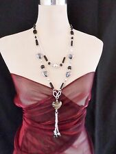 Statement Necklace Long 48cm Black multi Resin Beads - Small Heart Beads 119BK