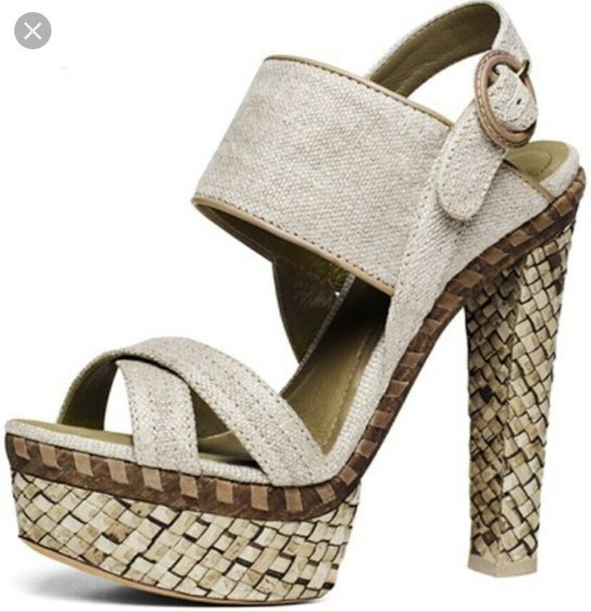 women Karan New York Womens Woven Platform Sandals Beige Size 38.5