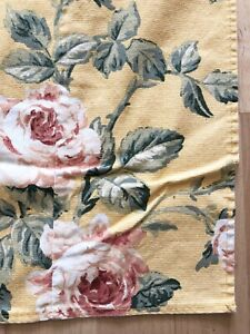 Yellow-Floral-Tablecloth-58-X-63-Shabby-Cottage-Roses-Faded