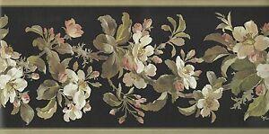 Wallpaper-Border-Kathy-Ireland-Floral-Dogwood-Magnolia-Vine-on-Black-Background