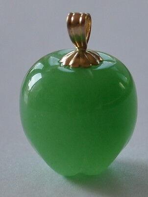 Lovely 14k Yellow Gold Hand Carved Apple Green Jade 3D Apple Charm Pendant