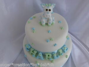 Boys edible sugar giraffe, letters & stars Christening ...