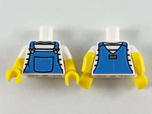 LEGO Torso Shirt  Black Stripes Medium Blue Overalls White Short Sleeve S19-DG