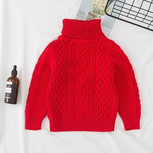 Children Baby Girl Boy Knitted Sweater Solid Sewing Tops Turtleneck Clothes Warm