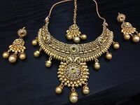 Necklace Earring Set Gold Jewellery Indian Asain Bridal Wedding Party