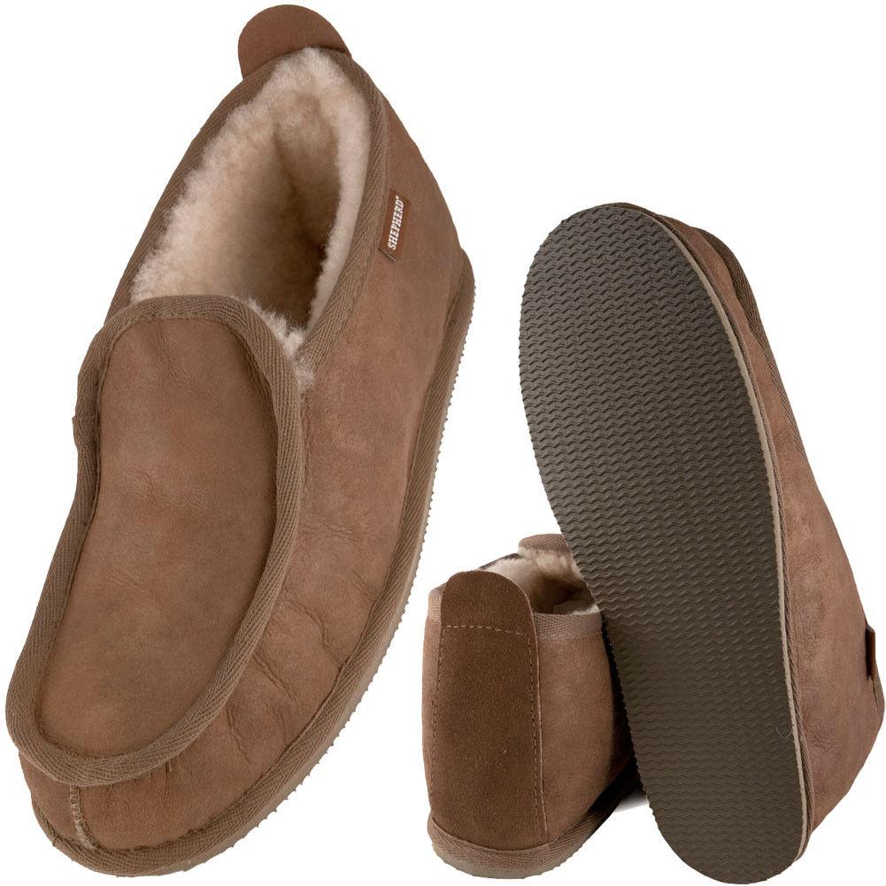 Para hombre Caballeros Suave Grueso Bota De Piel De Oveja Real Zapatilla Bota Suela Dura Castaño