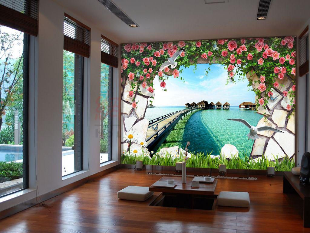 3D Garden Lake 724 Wallpaper Mural Paper Wall Print Wallpaper Murals UK