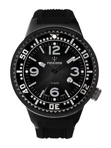 POSEIDON-Herren-Armbanduhr-XL-Slim-Analog-Silikon-UP00387-Schwarz-UVP-139