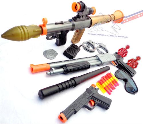 3x Toy Guns Electronic Toy Bazooka Pump-Action Toy Shotgun /& Colt .45 Dart Guns
