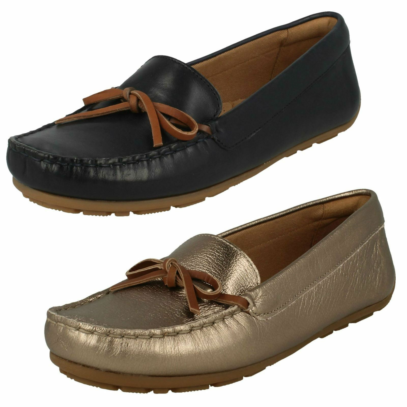 Ladies Clarks Dameo Swing Navy Or Pewter Leather Casual Flat Shoes