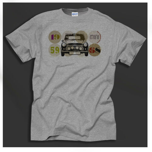 Mini Car 1960/'s Mini Cooper Cult Classic Car Retro Sport Grey T-Shirt