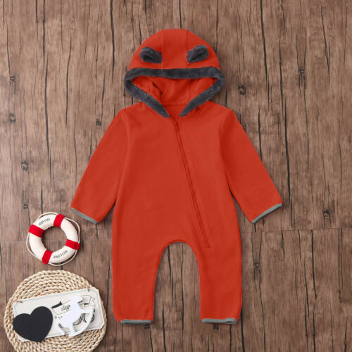 Infant Baby Girls Boys Cartoon Fleece Ears Hoodie Romper Clothes Jumpsuit