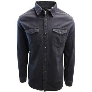 Jack-amp-Jones-Men-039-s-Black-Denim-Slim-Sheridan-L-S-Shirt-Retail-59-50