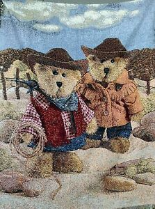 Tache-60-034-x50-034-Kid-Cozy-Colorful-Cowboy-Teddy-Bears-Woven-Tapestry-Throw-Blanket