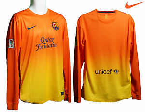 NOUVEAU-Nike-Barcelona-Football-Club-AWAY-maillot-manche-longue-jaune-orange-M